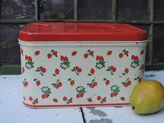Antique Red Strawberry Bread Box Vintage Enamel Ware Painted Metal Kitchen Storage Box 1950's Kitchen Decor