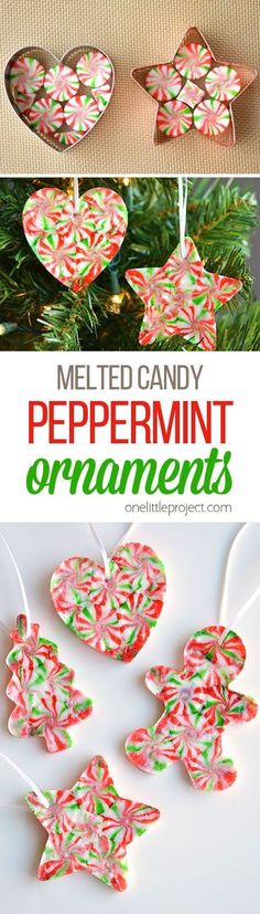 DIY Crafts Image Description These melted peppermint candy ornaments are ADORABLE and they're super easy to make! Such a fun and inexpensive homemade Christmas ornament idea to make with the kids!