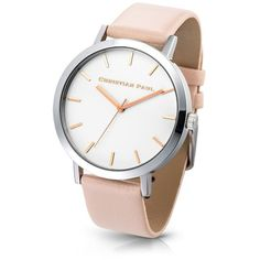 43MM SILVER/PEACH RAW ($150) ❤ liked on Polyvore featuring jewelry, watches, silver wrist watch, silver jewelry, silver watches, peach jewelry and silver jewellery