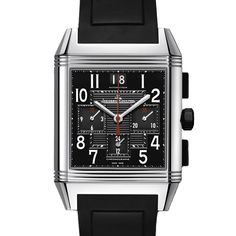 Discount Watch Gallery - Jaegar-LeCoultre - 701868P - Reverso Squadra Chronograph GMT 41mm x 35mm, £6,333.01 (http://www.thediscountwatchgallery.com/701868p-reverso-squadra-chronograph-gmt-41mm-x-35mm-stainless-steel-case-and-black-rubber-strap-black-guilloche-centre-dial-automatic-movement/)