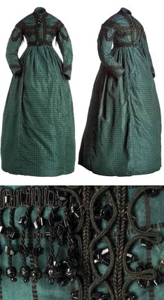 Dress, ca. 1864-67. Green silk batavia trimmed with black beads. Museo del Traje, Madrid