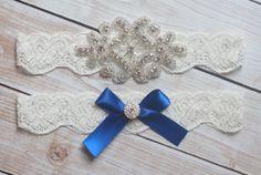 Royal Blue Wedding Garter  Rhinestone and Crystal by BellaSposina, $23.00