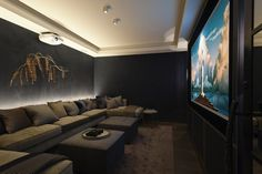 home cinema room diy * home cinema room ; home cinema room ideas ; home cinema room small ; home cinema room diy ; home cinema room ideas small ; home cinema room cozy ; home cinema room ideas interior design ; home cinema room projector screens Home Theater Basement, Home Theater Room Design, Basement Movie Room, Home Theater Rooms, Home Theater Seating, Cinema Room Small, Small Movie Room, Home Cinema Room, Salas Home Theater