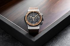 """With only 25 pieces made of The Rake and Revolution's highly collectable collaboration with Hublot, the Aerofusion Chronograph 'Molon Labe' is a must-have addition for watch aficionados, so """"Come and take them. Molon Labe, Mens Gear, Black Rubber, Wood Watch, Calf Leather, Chronograph, Revolution"""