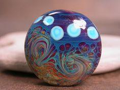 Lampwork Focal Bead Organic Swirls in Creamy Purple Blues and Raku Turquoise Dots Divine Spark Designs SRA. $14.00, via Etsy.