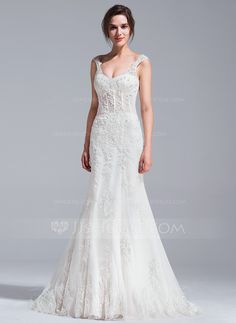 Trumpet/Mermaid V-neck Court Train Beading Appliques Lace Sequins Lace Up Cap Straps Sleeveless Church General Plus No Spring Summer Fall Ivory Tulle Wedding Dress