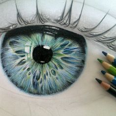 Colored Pencil Eye - this is stunning and makes me want to have a go - although I don't know if I could beat this - Wow!