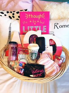 "Victoria's Secret ""Pink"" Themed Alpha Gamma Delta Sorority Spoils basket for the last day of spoils week for my wonderful little!"