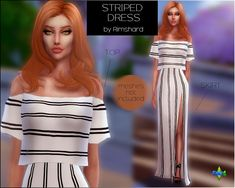 Sims 4 CC's - The Best: Striped Maxi Dress by Rimshardshop