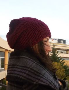 Winter Boho, Witer Fashion Hats, Burgundy Chunky Knit Slouchy Beanie Hat Hand Knit - by DragonflyStrand