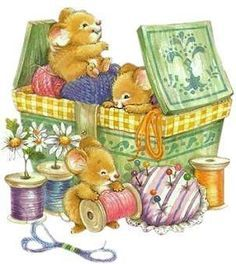 Mice seem to always love sewing baskets, love it Sewing Art, Love Sewing, Cute Images, Cute Pictures, Art Mignon, Hamster, Cute Clipart, Bear Clipart, Cute Mouse