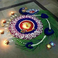 Beautiful peacock rangoli designs for diwali .This rangoli is specially for Diwali. Rangoli Designs Peacock, Rangoli Patterns, Colorful Rangoli Designs, Rangoli Ideas, Rangoli Designs Diwali, Diwali Rangoli, Indian Rangoli, Diwali Craft, Diwali Diy