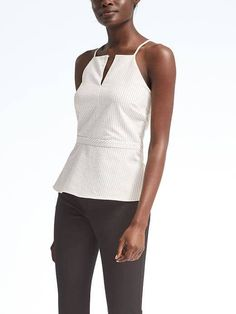 Banana Republic High Neck Stripe Top