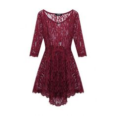 Yoins Burgundy Lace Leaf Skate Dress ($18) ❤ liked on Polyvore featuring dresses, burgundy, purple lace dress, lace camis, lace dress, burgundy dress and cami dress