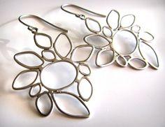 Matte Silver Abstract Freeform Dangle Earrings also by belaluna