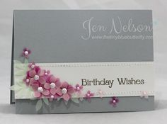 Punched Hydrangea petals -  Birthday Wishes
