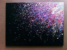 I need to try this :) - Cita Zoe - Paint Splatter Canvas Art.I need to try this :) Paint Splatter Canvas Art. Easy Canvas Painting, Simple Acrylic Paintings, Diy Canvas Art, Easy Paintings, Simple Canvas Art, Black Canvas Paintings, Black Canvas Art, Black Painting, Watercolor Canvas