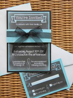 Chalkboard Wedding Invitation  Handmade  Blue and by aSignofJoy, $3.00