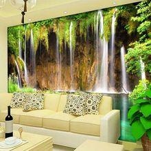 Personalizado mural papel de parede não-tecido decorações de parede sala de estar sofá quarto pano de fundo papel de parede papel de parede 3d paisagem cachoeira(China (Mainland))