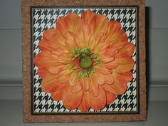 Simple cork tile with flower.