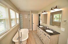 Transitional Full Bathroom with Miseno MNO801-CP Polished Chrome Pescara Widespread Bathroom Faucet, Hardwood floors, Flush