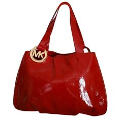 Pre-owned Michael Kors Fulton Large East West Patent Leather Red Tote... ($179) ❤ liked on Polyvore featuring bags, handbags, tote bags, red, michael kors, red patent leather tote bag, patent tote, michael kors tote and patent leather handbags