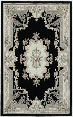 Rugs America New Aubusson 510 Black Rug. Rugs USA Summer Sale up to 80% Off! Area rug, carpet, design, style, home decor, interior design, pattern, trend, statement, summer, cozy, sale, discount, free shipping.