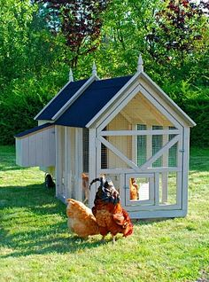 Chicken coop...mobile and stylish...wheel it around the garden...chicken food and grass fertilizer...all in one