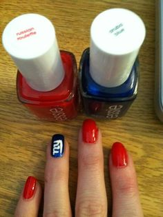 Getting ready for this Sunday!! Essie colors Aruba Blue and Russian Roulette
