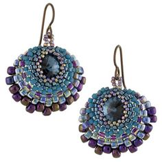 Peacock Earrings free PDF from Fusion Beads. Easy project but unfortunately no diagrams in instructions. Peyote. #Seed #Bead #Tutorials