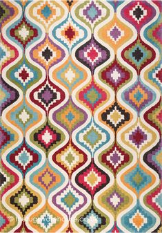 Sofia Rug (Ligne Pure), a cheerful patterned wool & viscose hand-tufted designer rug http://www.therugswarehouse.co.uk/sofia-rug.html #rugs #boldcolours #interiors
