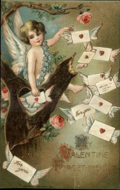 better cherub with flying envelopes My Sweet Valentine, Valentine Cupid, Valentine Picture, Valentine Images, Vintage Valentine Cards, Vintage Greeting Cards, Love Valentines, Vintage Postcards, Vintage Images