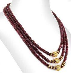 Items similar to Three Row African Ruby Gemstone Necklace With Designer Vintage Beads – Free Matching Earrings,Wedding Jewelry,Christmas Gift on Etsy Dreireihige Afrikanische Rubin Edelstein Halskette Gold Mangalsutra Designs, Gold Earrings Designs, Beaded Jewelry Designs, Gold Jewellery Design, Bead Jewellery, Jewelry Patterns, Necklace Designs, Crystal Jewelry, Jewelery
