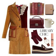 """""""Study Session: Library Chic"""" by pure-vnom ❤ liked on Polyvore featuring Prada, RED Valentino, Yves Saint Laurent, Daniel Wellington, Mulberry, NYX and librarychic"""