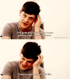Roses are white Violets are blue Why are you so fat But anyway I luv you Movie Memes, Movie Quotes, Movie Tv, Tv Quotes, Iwan Rheon Misfits, Game Of Throne Actors, Robert Sheehan, Nerd, Film Serie