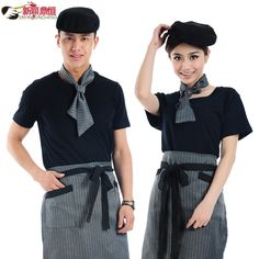 Hotel uniforms summer clothes summer restaurant waitress uniforms catering clothing short sleeve men-tmall.com day cat