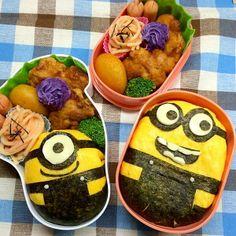 posted from @namimocchi 本日のお弁当。 ミニオンのオムライス弁当。 #obentoart #obento