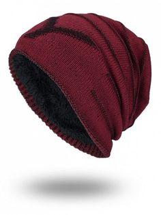reputable site f8fe2 39bc1 Double-Deck Thicken NY Knit Hat - WINE RED Sombreros Para Hombre, Prendas  Elegantes