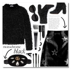 """black stars"" by janajane90 ❤ liked on Polyvore featuring MaxMara, Oscar Tiye, Boohoo, Gucci, Bobbi Brown Cosmetics, NARS Cosmetics, Carla Zampatti, Tweezerman, Leather and stars"