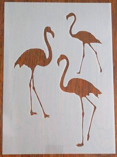 Flamingos reusable mask/stencil. Genuine 350 micron Polypropylene Sheet  A machine cut, stencil/mask which can be used in a variety of ways to create unique backgrounds and decorations for your craft, mixed media, DIY and home décor projects.  Texture paste, inks, paints, pastels, air brushing, Butterfly Stencil, Bird Stencil, Leaf Stencil, Stencil Painting, Bar Design, Design Studio, Stencil Patterns, Stencil Designs, Flamingo