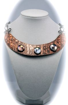 Etched copper collar with bezel set Sea Glass by mimi1214 on Etsy, $55.00
