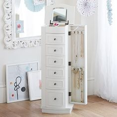 Chelsea Large Jewelry Armoire, Simply White at Pottery Barn Teen . Revolving Bookcase, Storage Mirror, Pottery Barn Teen, Jewelry Armoire, Jewelry Cabinet, My New Room, Jewellery Storage, Earring Storage, Adjustable Shelving