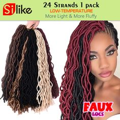 24 Roots Curly Faux Locs Crochet Hair 20'' Soft Curly Crochet Braids Hair Extension Crochet Faux Lock Wavy Dreadlocks For Women