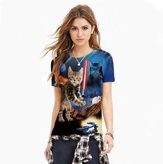 Summer Style T-shirt Femmes Hommes Mignon Animal Espace Imprimé T-Shirt À T Shirt 3d, 3d T Shirts, T Shirt And Shorts, Cute Shirts, T Shirts For Women, Harajuku, Women's Summer Fashion, Fashion Prints, Short Sleeve Tee