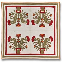 """From the International Quilt Study Center and Museum: Pots of Flowers  Probably made by Mary Eliza Sykes  Probably made in Iowa  Dated 1904  81.5""""x 83.5""""  IQSC 2004.016.0002  The Linda and Dr. John Carlson Four Block Quilt Collection  Four-Part Harmony: The Linda Carlson Four-Block Quilt Collection Exhibition"""