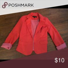 """Cute red/orange statement blazer Adorable red/orange size small statement blazer in perfect condition, """"new look"""" brand, I believe from TJ Maxx New Look Jackets & Coats Blazers"""