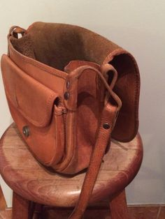 brown vintage leather purse very bohemian by Moonlightingnow
