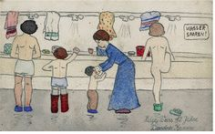 The Washroom at Terezin, by Helga Weiss aged 12 Artwork drawn by Holocaust survivor of the Holocaust by Helga Weiss when she was a child. Printed in the book 'Helgas Diary'. Of 15,000 children sent to Terezín camp, as few as 100 returned. Here, in the most moving Holocaust diary published since Anne Franks, Helga Weiss tells the story of her survival.