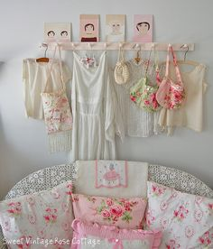 Pretty pillows and vintage clothing~ by Sweet Vintage Rose Cottage, via Flickr