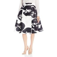 HALSTON HERITAGE Women's High-Waist Printed Structured Skirt ($95) ❤ liked on Polyvore featuring skirts, white skirt, white knee length skirt, structured skirt, white high waisted skirt and high-waist skirt